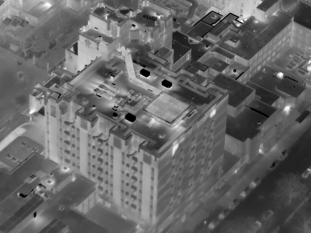 Aerial Oblique Thermograph of the St. Lukes RMC Tower in Downtown Boise, Idaho.