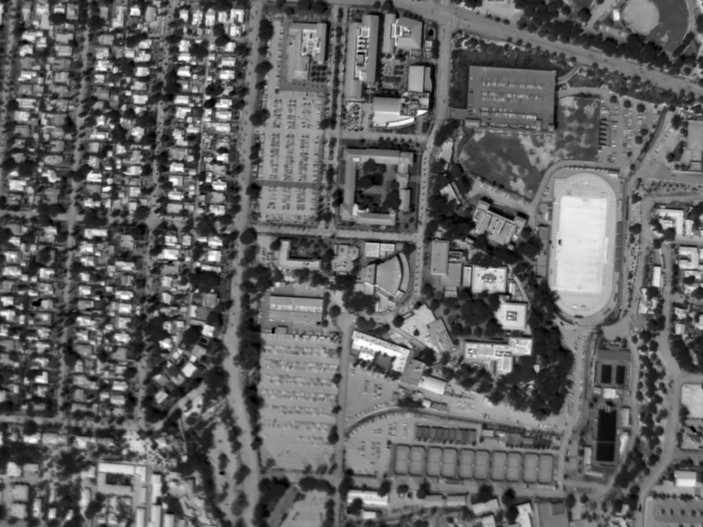 Daytime Aerial Thermogram of a College Campus with Synthetic Turf at an Apparent Temperature Exceeding 170°F. Ground Ambient Temperature Approximated 105°F.