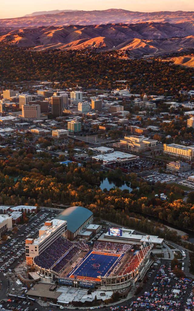 Aerial Photography-Boise State Football with Boise River, Downtown Boise, and Boise Foothills Near Sunset.