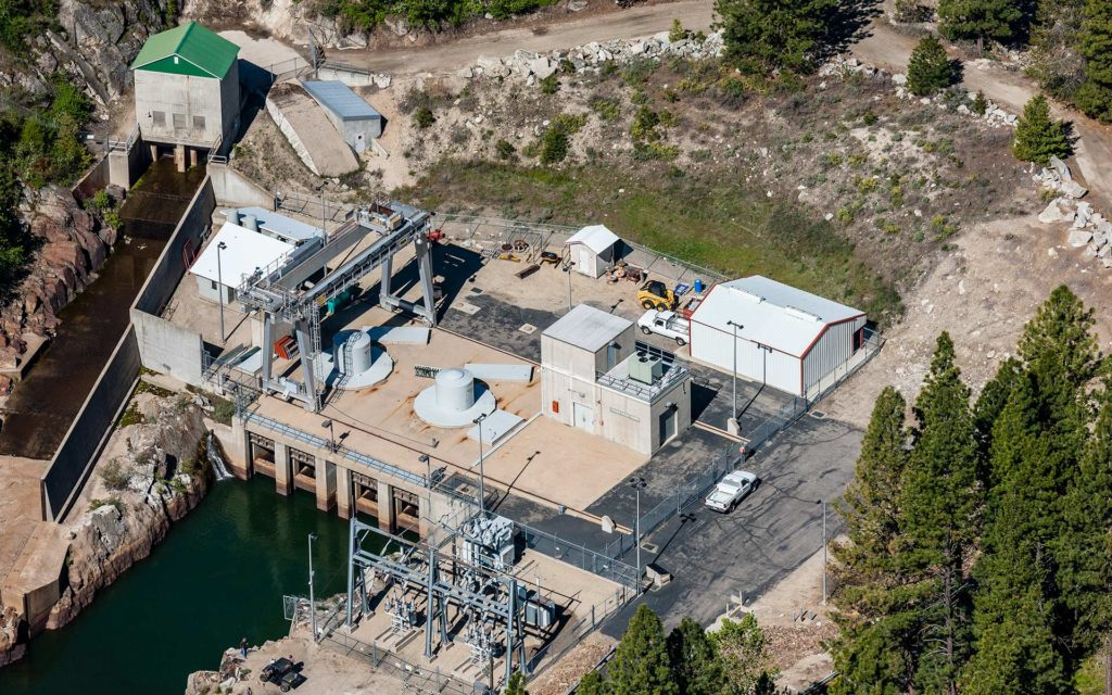 Aerial Photography-Small Hydroelectric Plant, Cascade Resevoir Dam, Cascade, Idaho.