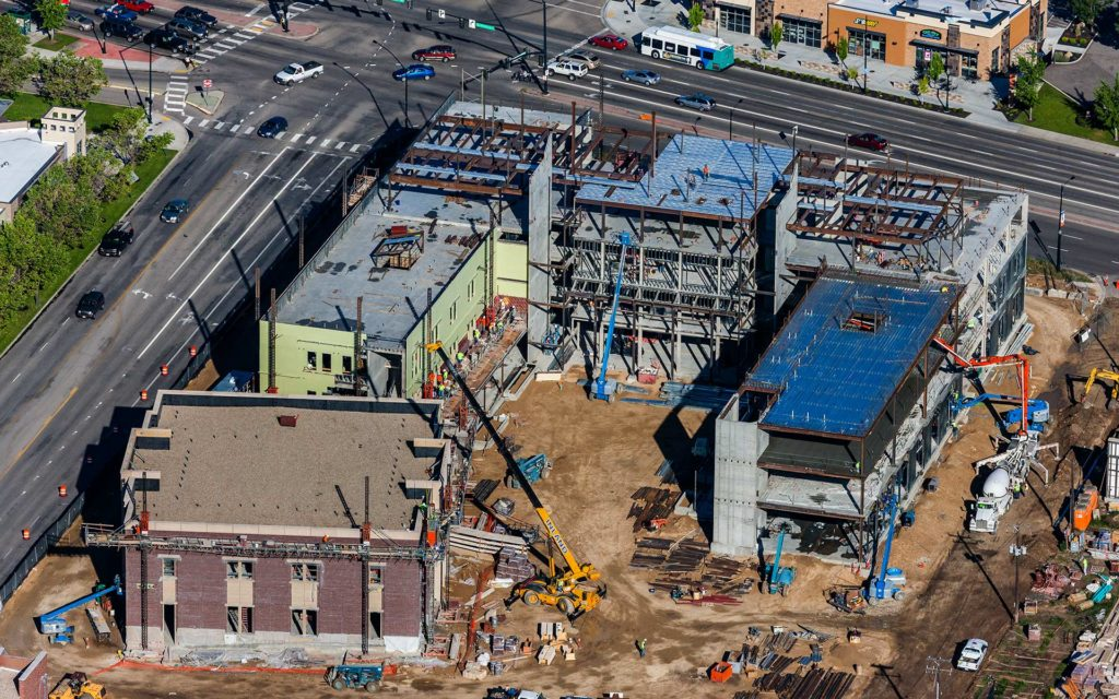 Aerial Photography-Construction of the Micron Business and Economics Building at Boise State University.
