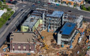 Aerial Photography, Construction of the Micron School of Business and Economics at Boise State University.