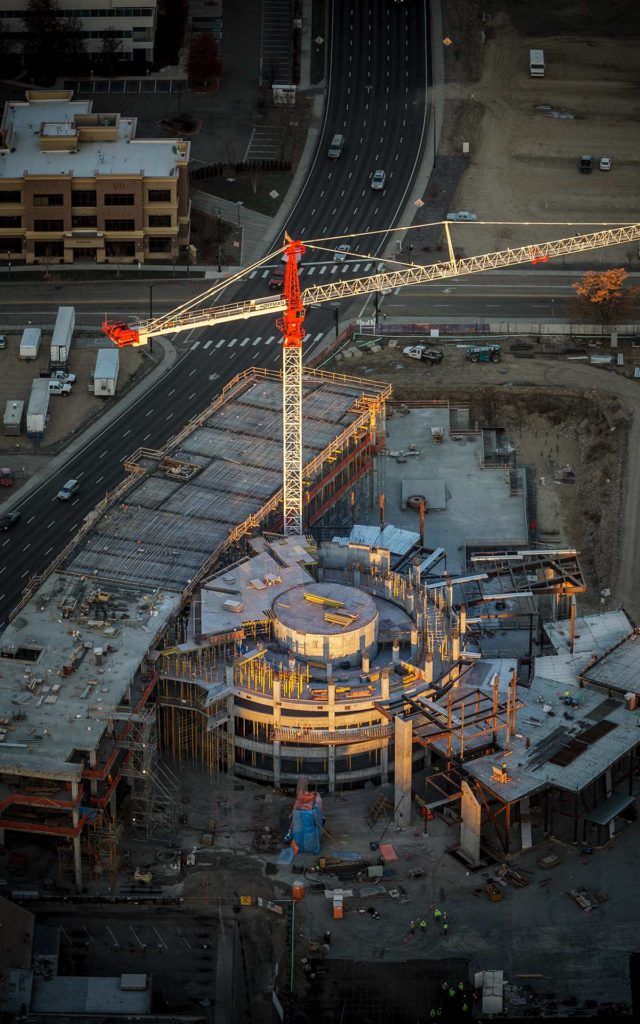 Aerial Photography-JUMP Construction Downtown Boise, Idaho, with Crane, at Sunrise.