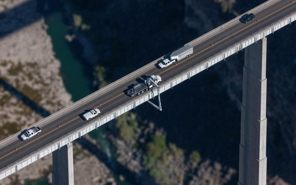 Aerial Photography-Bridge Inspection On the Hansen Bridge (SH50) Over the Snake River Near Kimberly, Idaho.