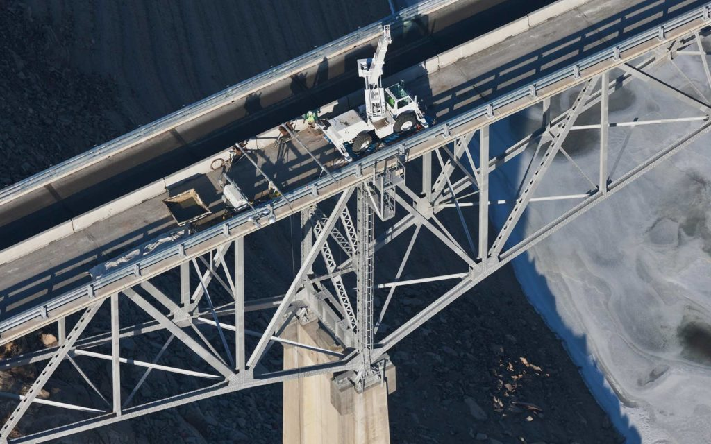 Aerial Photography-Deck Repair on Idaho State Highway 21 Tall Bridge Near Robie Creek, Idaho.