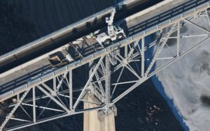 Aerial Photograph, Bridge Deck Repairs on Idaho State Highway 21 near Robie Creek.
