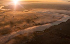 Aerial Photography, Snake River at Sunrise Near Adrian, Oregon.