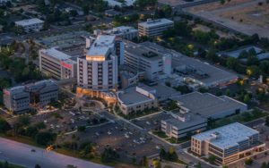 Night Aerial Photography, St. Alphonsus Regional Medical Center, Boise, Idaho.