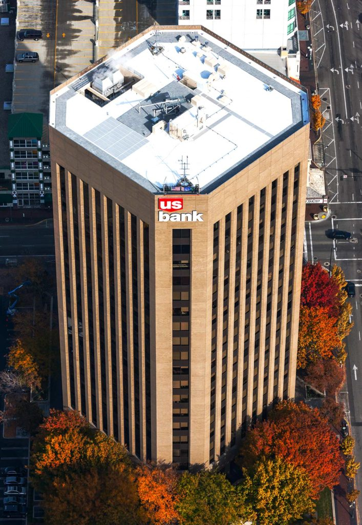 Aerial Photography-USBank Building in Downtown Boise, with Fall Color.