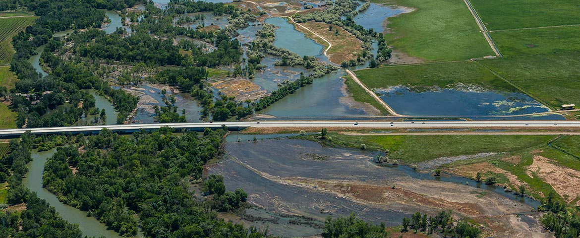 Oblique Aerial Photograph of The Boise River Flooding at Idaho State Highway 16 Bridge, 2017; View East.